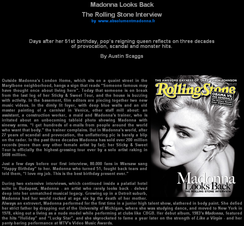 Madonna Looks Back [The Rolling Stone Interview] by Austin Scaggs