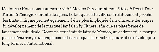 Madonna's Hard Candy Fitness Centers Interview 03