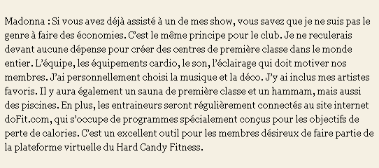 Madonna's Hard Candy Fitness Centers Interview 06