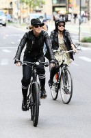 Madonna on bike in the streets of New York, May 6th 2011 (22)