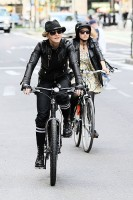 Madonna on bike in the streets of New York, May 6th 2011 (23)