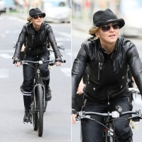 Madonna on bike in the streets of New York, May 6th 2011 (31)