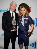 Madonna dressed up as boy scout at the GLAAD Media Awards - Anderson Cooper - Backstage (2)