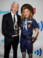 Madonna dressed up as boy scout at the GLAAD Media Awards - Anderson Cooper - Backstage (4)
