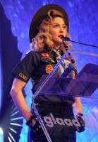 Madonna dressed up as boy scout at the GLAAD Media Awards - Anderson Cooper - Backstage (14)