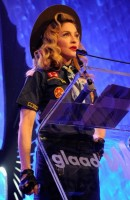 Madonna dressed up as boy scout at the GLAAD Media Awards - Anderson Cooper - Backstage (17)