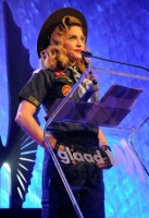 Madonna dressed up as boy scout at the GLAAD Media Awards - Anderson Cooper - Backstage (27)