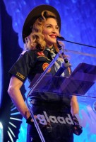 Madonna dressed up as boy scout at the GLAAD Media Awards - Anderson Cooper - Backstage (30)