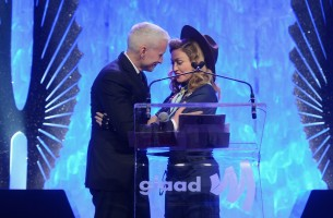 Madonna dressed up as boy scout at the GLAAD Media Awards - Anderson Cooper - Backstage - HQ (69)
