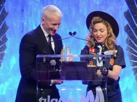 Madonna dressed up as boy scout at the GLAAD Media Awards - Anderson Cooper - Backstage - HQ (70)