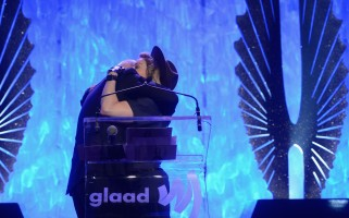 Madonna dressed up as boy scout at the GLAAD Media Awards - Anderson Cooper - Backstage - HQ (74)