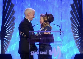 Madonna dressed up as boy scout at the GLAAD Media Awards - Anderson Cooper - Backstage - HQ (76)