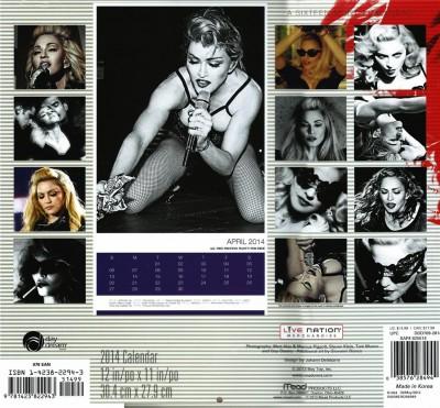 Exclusive Deal Madonna 2014 Calendar Back