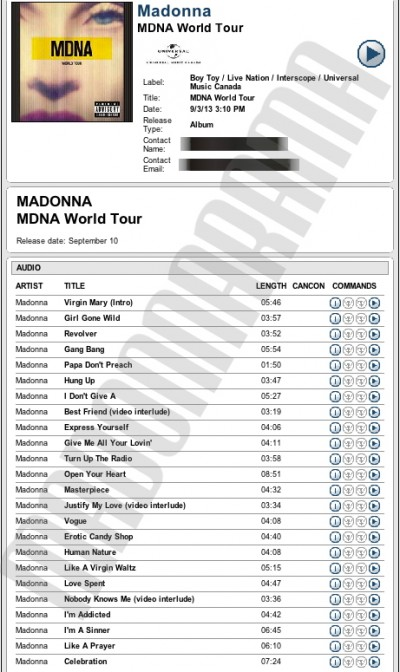 Madonna MDNA Tour CD Advance Copy for streaming