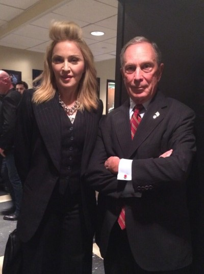 Madonna backstage with Michael Bloomberg, the Mayor of New York