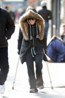 Madonna out and about on crutches in New York - 17 January 2014 (5)