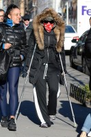 Madonna out and about on crutches in New York - 17 January 2014 (8)