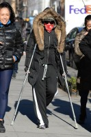 Madonna out and about on crutches in New York - 17 January 2014 (9)