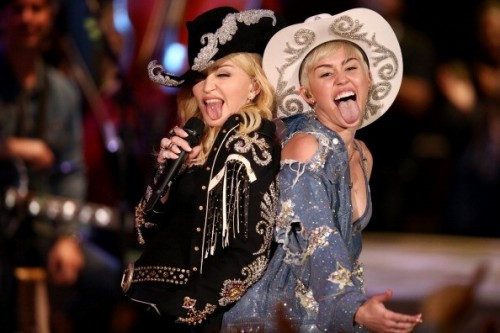 Madonna and Miley Cyrus at the taping of the MTV Unplugged - 28 January 2014