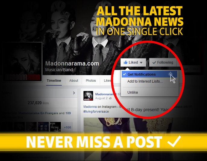 New Madonnarama Website Design - Facebook Notifications