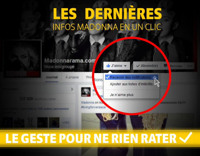 Un nouveau design pour Madonnarama - Notifications Facebook