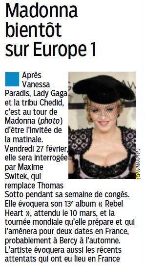 Madonna Europe1 Interview Tour