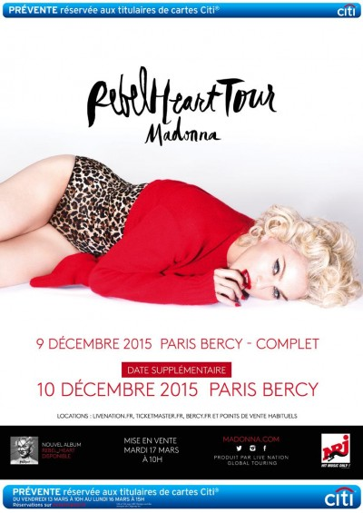 Madonna Rebel Heart Tour Paris New Date December 10th
