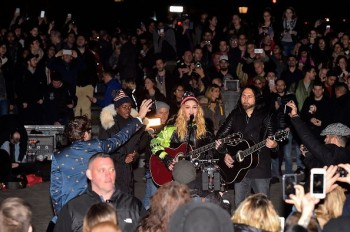 Madonna performs 5 acoustic songs at Washington Square Park  New York (18)