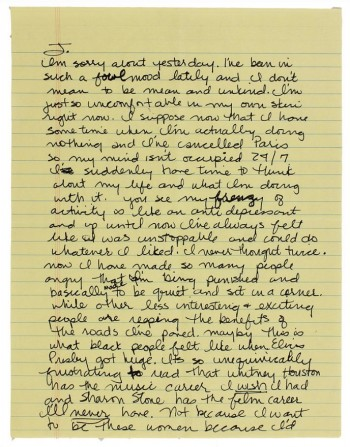 Madonna Personal Letter Sharon Stone Whitney Houston