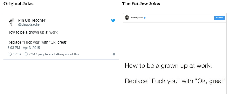 The Fat Jew allegedly steals jokes 02