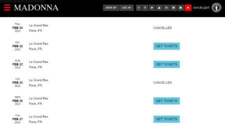 Madonna annule deux concerts du Madame X Tour a Paris