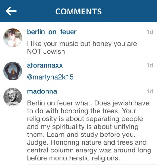 Madonna Instagram reply Tu Bishvat