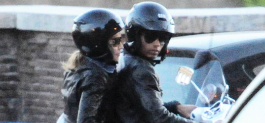 Madonna riding a Vespa in Rome [13 June 2012]