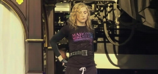 Billy Eichner meets Madonna during the MDNA Tour soundcheck in Yankee Stadium