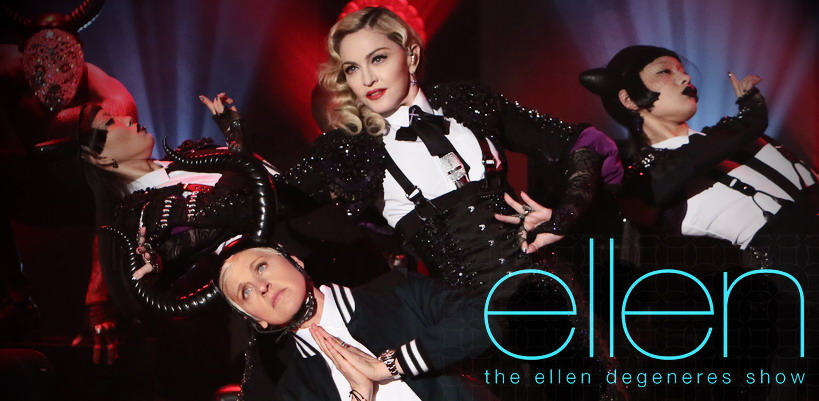 "Madonna sings ""Dress You up"" on The Ellen DeGeneres Show #MadonnaWeek"