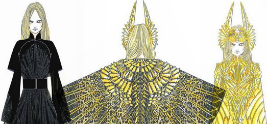 Super Bowl Performance – Givenchy Haute Couture Costume Sketches by Riccardo Tisci