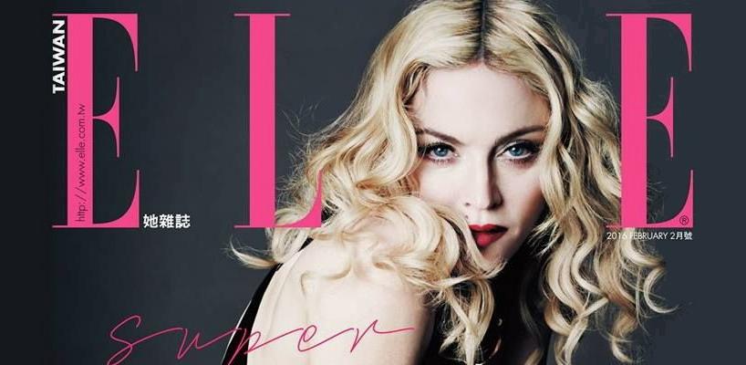Madonna en couverture de ELLE Taiwan [Numéro de Février 2016]
