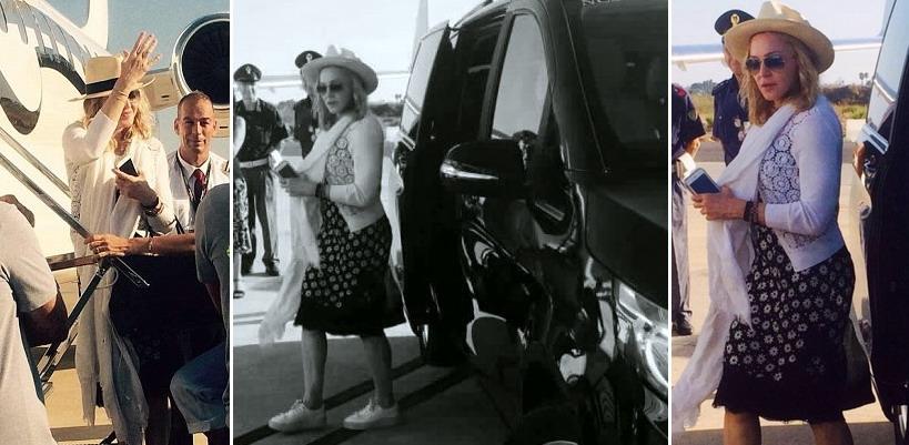 Madonna repérée à l'aéroport de Brindisi, Italie [Juillet 2016]