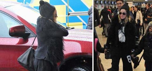 Madonna repérée à l'aéroport international de Genève [4 janvier 2012 - photos]