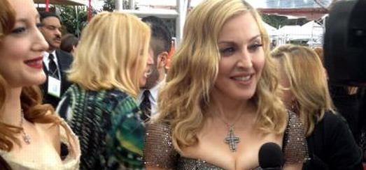Madonna sur le tapis rouge aux Golden Globes 2012 – Reportage, Photos et Vidéo