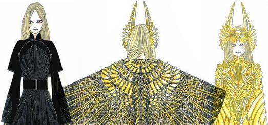 Madonna au Super Bowl – Les croquis Givenchy Haute Couture Costume par Riccardo Tisci