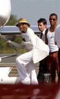 Madonna and family boarding private plane at the Biarritz airport, France (1)
