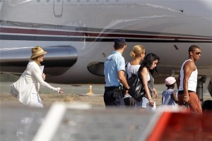 Madonna and family boarding private plane at the Biarritz airport, France (2)