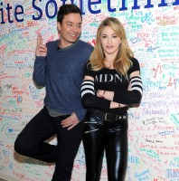 Madonna and Jimmy Fallon at the Facebook Wall in New York (2)