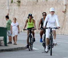 Madonna out and about on bike, south of France - 11 August 2013 (1)