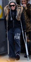 Madonna spotted on crutches in New York - 16 January 2014 (1)