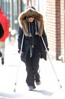 Madonna out and about on crutches in New York - 17 January 2014 (2)
