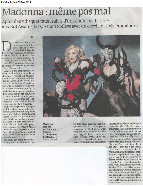 Madonna Rebel Heart Critique - Le Monde