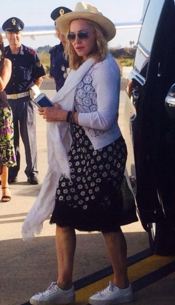Madonna spotted at Brindisi airport, Italy - July 2016 (2)